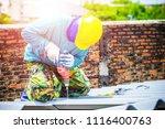 technician working renew the... | Shutterstock . vector #1116400763