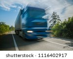 big truck on the road at full... | Shutterstock . vector #1116402917