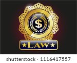gold badge or emblem with... | Shutterstock .eps vector #1116417557