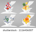 collection of fruit in a milk... | Shutterstock .eps vector #1116436307