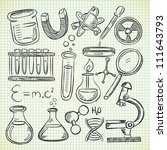 set of science object in doodle ... | Shutterstock .eps vector #111643793