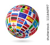 flags globe. europe. vector. | Shutterstock .eps vector #111646997