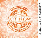 act now abstract orange mosaic... | Shutterstock .eps vector #1116484037