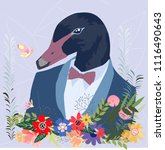 botanical tropical duck head... | Shutterstock .eps vector #1116490643