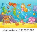 mermaids among the fishes hold... | Shutterstock .eps vector #1116551687
