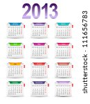 Set of twelve monthly calendar for the year 2013 - stock vector
