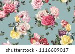 seamless floral pattern with... | Shutterstock . vector #1116609017
