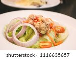 close up of tuna spicy salad in ... | Shutterstock . vector #1116635657