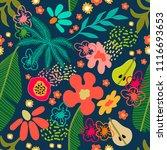 exotic garden blossom. seamless ...   Shutterstock .eps vector #1116693653