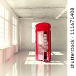retro call-box in the empty room ( illustrated concept) - stock photo