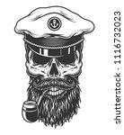 monochrome vintage skull in sea ... | Shutterstock .eps vector #1116732023