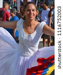 "Small photo of MONTREAL QUEBEC CANADA AUGUST 01 2015: Dancers of ""Pasillo"" is one of the best known Ecuadorian dances which has its origin from the classical Vienna waltz."