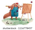 anteater artist in a red hat... | Shutterstock . vector #1116778457