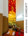 Small photo of Ayutthaya,Thailand-June 7,2018:Principle Buddha image in a temple at Wihan Phra Mongkol Bophit is a Buddhist temple in the city of Ayutthaya