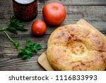round bread wheat appetizing... | Shutterstock . vector #1116833993