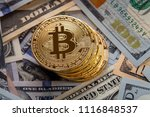 golden bitcoin coin on us... | Shutterstock . vector #1116848537