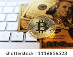 golden bitcoin and us dollar... | Shutterstock . vector #1116856523