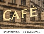 old cafe sign | Shutterstock . vector #1116898913