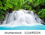 water fall , hua mae kamin level 3 kanchanaburi thailand - stock photo
