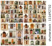 collage made of many images of beautiful old doors from Italy, Europe - stock photo
