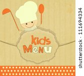 Design of kids menu with smiling chefs in Retro Style - vector illustration - stock vector