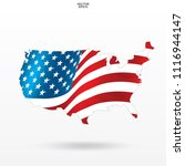 map of the usa with american... | Shutterstock .eps vector #1116944147
