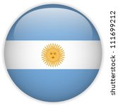 Vector - Argentina Flag Glossy Button - stock vector
