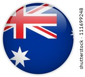 Vector - Australia Flag Glossy Button - stock vector