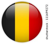 Vector - Belgium Flag Glossy Button - stock vector