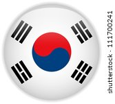Vector - South Korea Flag Glossy Button - stock vector