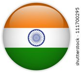 Vector - India Flag Glossy Button - stock vector
