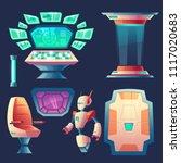 vector set of alien spaceship... | Shutterstock .eps vector #1117020683