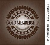 gold membership wooden emblem.... | Shutterstock .eps vector #1117035587