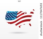map of the usa with american... | Shutterstock .eps vector #1117047653