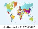 color world map vector | Shutterstock .eps vector #1117048847
