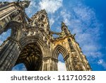 Scott Monument in sunny Edinburgh - stock photo