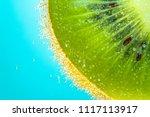 kiwi water bubbles blue light... | Shutterstock . vector #1117113917