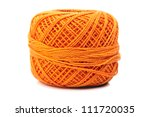 ball of orange cotton yarn isolated on white background - stock photo