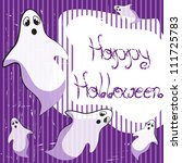 halloween card with ghosts   Shutterstock .eps vector #111725783