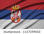 serbia flag  is depicted on a...   Shutterstock . vector #1117259033