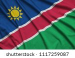 namibia flag  is depicted on a...   Shutterstock . vector #1117259087