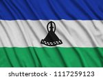 lesotho flag  is depicted on a...   Shutterstock . vector #1117259123
