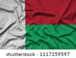 madagascar flag  is depicted on ...   Shutterstock . vector #1117259597
