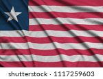 liberia flag  is depicted on a...   Shutterstock . vector #1117259603
