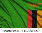 zambia flag  is depicted on a...   Shutterstock . vector #1117259627