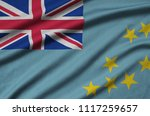 tuvalu flag  is depicted on a...   Shutterstock . vector #1117259657