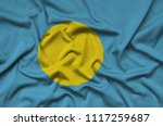 palau flag  is depicted on a...   Shutterstock . vector #1117259687