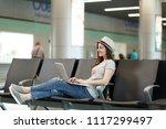 young calm traveler tourist...   Shutterstock . vector #1117299497