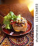 tart with vegetables served... | Shutterstock . vector #1117336853