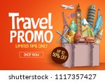 travel promo vector banner... | Shutterstock .eps vector #1117357427